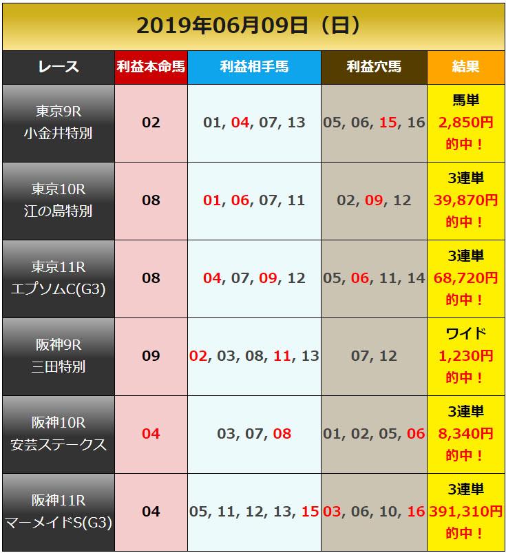 일본경마예상20190609 results 일본경마예상 업체의 JRA 도쿄, 한신 일요경마 추천마번 및 결과