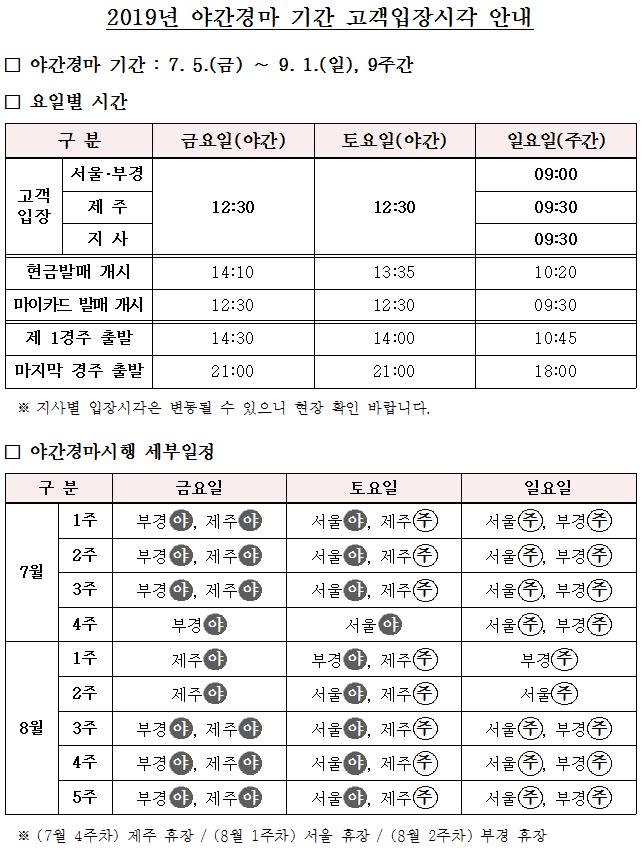 2019야간경마 2019년 여름 야간경마 일정! 경마장 입장시각 및 휴장 안내