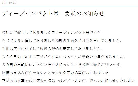 ディープインパクト号 急逝 일본경마 사상 최고의 경주마 명마 딥임팩트(Deep Impact) 안락사