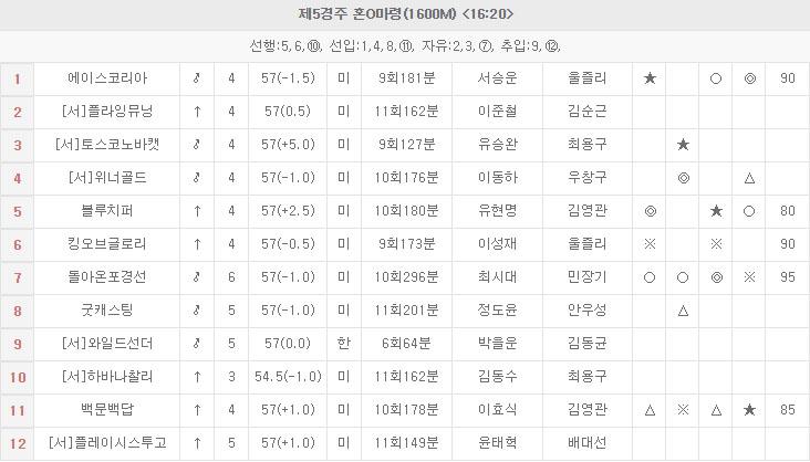 Owners Cup 일요경마 부산경마장 오너스컵과 서울 12R 삼쌍승식 경마예상 및 결과