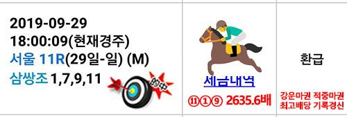 삼쌍승식 2000배 적중마권 일요경마예상 및 결과 2600배 적중! 주버나일 시리즈와 최강팀 선발전 결선