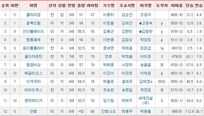 최강팀 선발전 착순 일요경마예상 및 결과 2600배 적중! 주버나일 시리즈와 최강팀 선발전 결선
