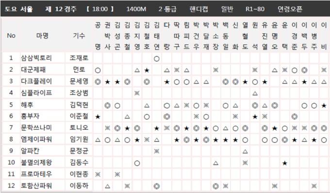 코리아레이스 종합지 토요경마예상 혼전경주 12R 삼쌍승식 고배당 복병마는?