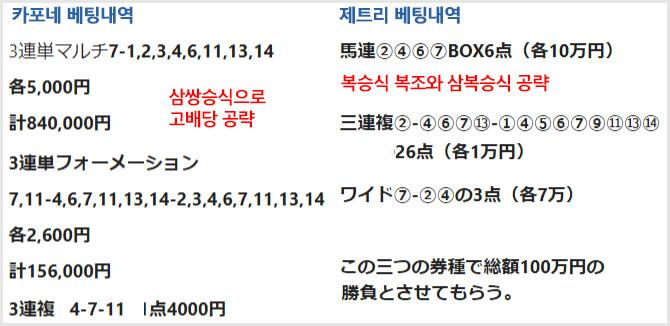 베팅대결 고액베팅 일본 경마전문가의 닛케이 신춘상 1천만원 마권승부 예상대결 결과