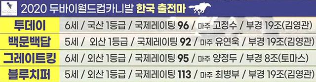 두바이월드컵출전마 한국경마 대표 경주마 2020 두바이월드컵 카니발 참전기