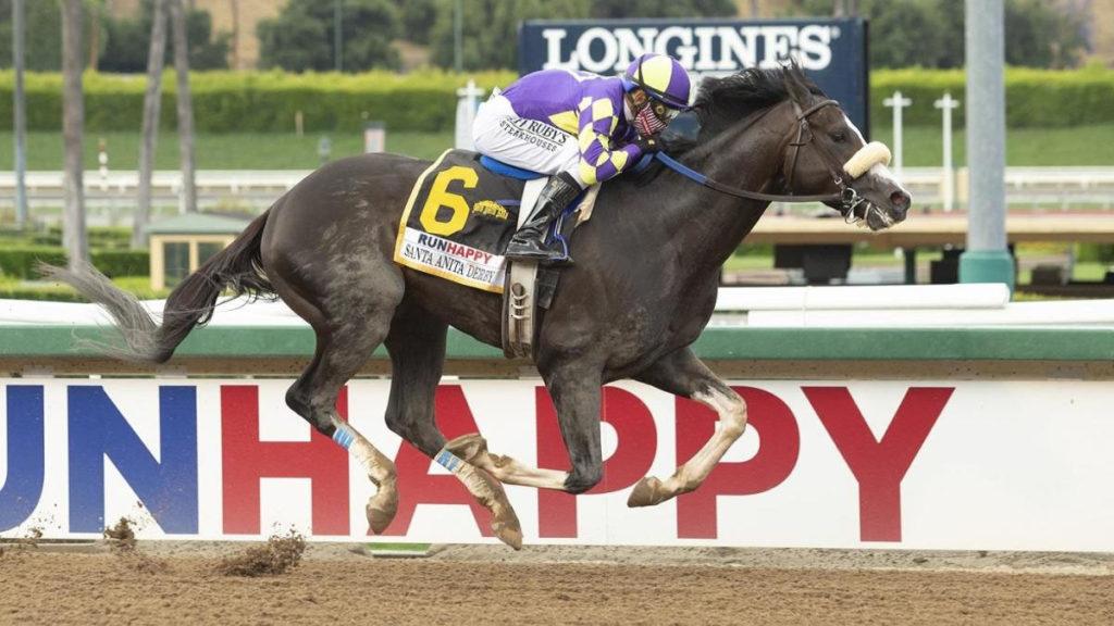 Santa Anita Derby winner 1024x576 미국 산타아니타더비(G1) Honor A P가 무패의 어센틱 제압! 더비 승점 2위에