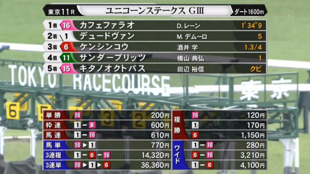 Unicorn Stakes odds 1024x574 일본 도쿄경마장 켄터키더비 승점 레이스 유니콘 스테익스(Unicorn Stakes)