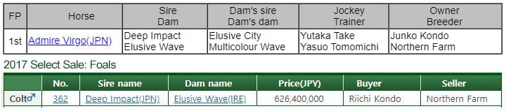 Admire Virgo 경매가 70억원의 일본 경주마! 딥임팩트의 자마 어드마이어 비르고 3승