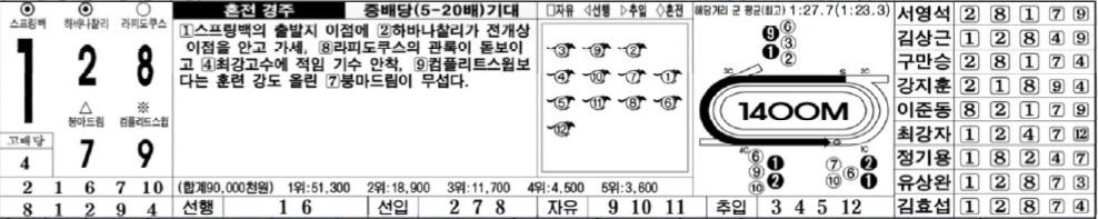 토요경마12 토요경마 막판 뒤집기 12R 핸디캡 경주 삼쌍승식 경마예상