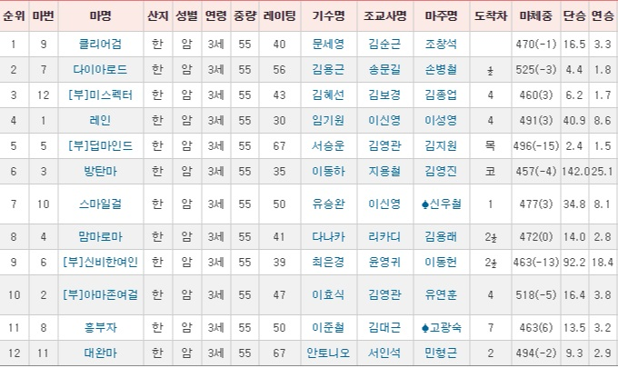 경기도지사배 경주성적 경기도지사배 경마대회 결과 및 영상! 문세영 기수 클리어검 깜짝 우승
