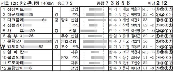 경마왕예상지 토요경마예상 혼전경주 12R 삼쌍승식 고배당 복병마는?
