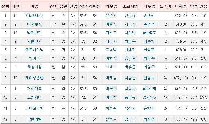 일요경마결과100611 돌콩 출전 KRA컵 클래식, 최강팀 선발예선전 삼쌍승식 일요경마예상