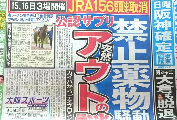 도핑테스트 금지약물 일본지방경마 도핑 테스트에서 경주마 6두 금지약물 추가 검출