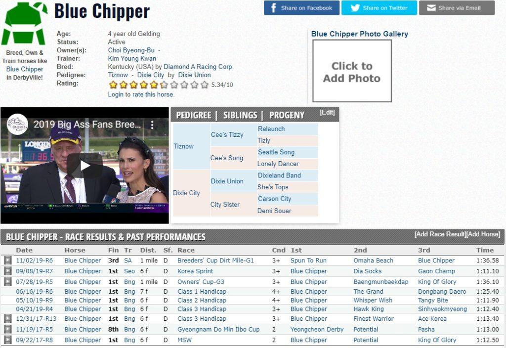 blue chipper Horse Racing Nation 1024x704 미국 경마대회 브리더스컵 더트마일(G1) 한국마사회 블루치퍼 3착 입상