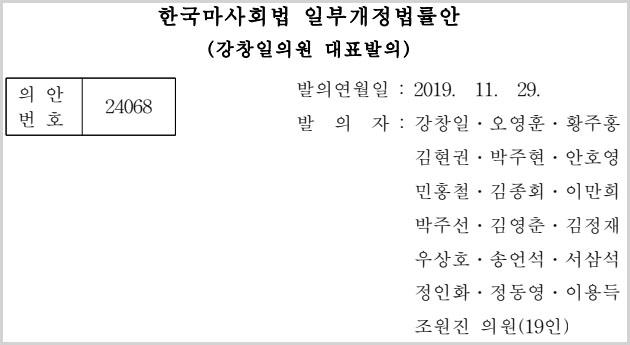 한국마사회법 개정안 한국마사회법 개정안, 경마 인터넷 온라인베팅 마권구매 법안 국회 심사중