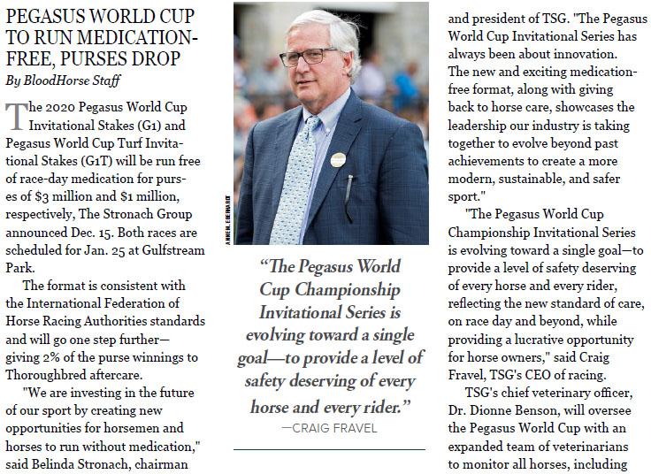Pegasus World Cup championship 미국 경마대회 페가수스 월드컵 혁신! 총상금 감액, 출전료 면제, 약물금지