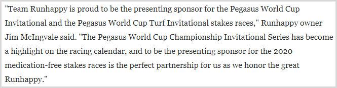Team Runhappy 약물금지 미국 페가수스 월드컵, 단거리 명마 런해피 팀이 경마대회 스폰서