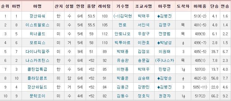 일요경마결과 서울경마공원 일요경마 새해맞이 기념 11R 삼쌍승식 승부마권 경마결과