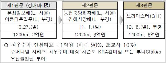 쥬버나일시리즈 2020년 경마시행 세부계획 및 변경사항! 서울 부산 경마장 대상경주 일정