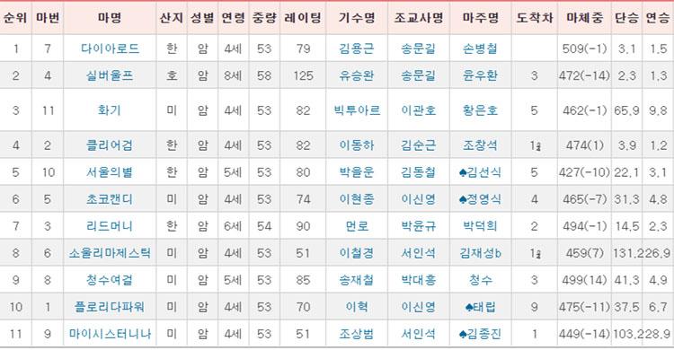 동아일봅배 경주성적 동아일보배 대상경주 경마결과 다이아로드 1착! 실버울버 3연패 도전 실패!
