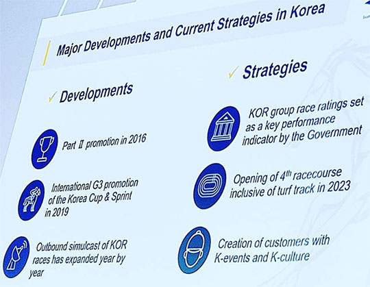 한국경마발전전략 남아공 아시아경마회의(ARC)에서 한국마사회 유승호 해외사업처장 기조발표