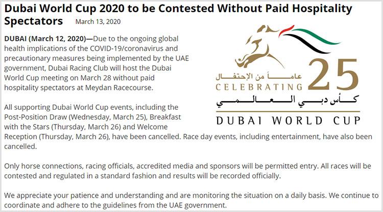 Dubai World Cup coronavirus 코로나19 팬데믹에 28일 두바이월드컵 경마대회 무관중 개최