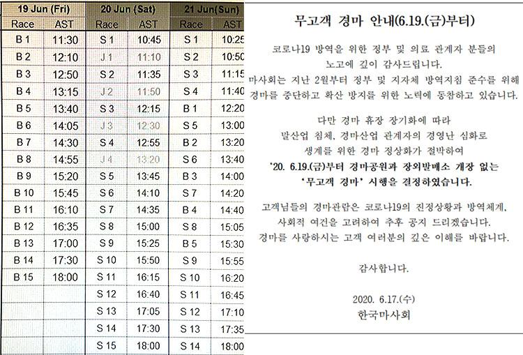 경마재개 시행일정 마사회 19일부터 노베팅 무고객 경마 재개! 금주 헤럴드경제배 대상경주