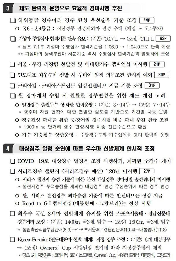 2020경마시행계획 변경02 한국마사회 무관중 경마 재개! 6,7월 대상경주 시행 일정 및 계획 변경사항