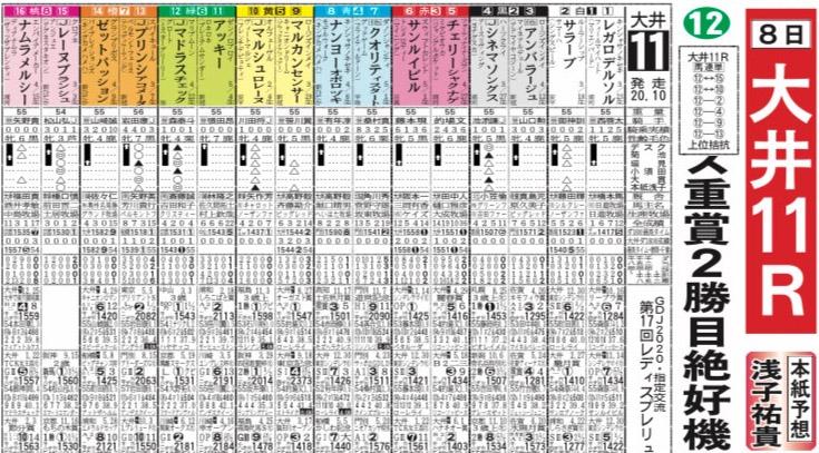 レディスプレリュード 스포츠신문 경마기자의 일본지방경마 예상대결! 8일 오오이 암말 대상경주