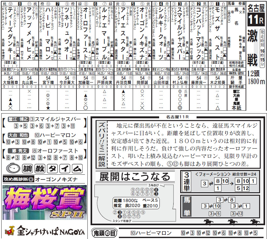 나고야경마예상지 1 일본 나고야경마장 3세 암말 출전 우메자쿠라상(梅桜賞)