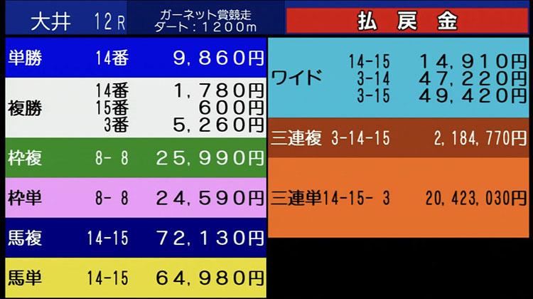 오이경마 고배당 일본 오이경마 삼쌍승식 20만배 환급금 2억원! 지방경마사상 4번째 고배당