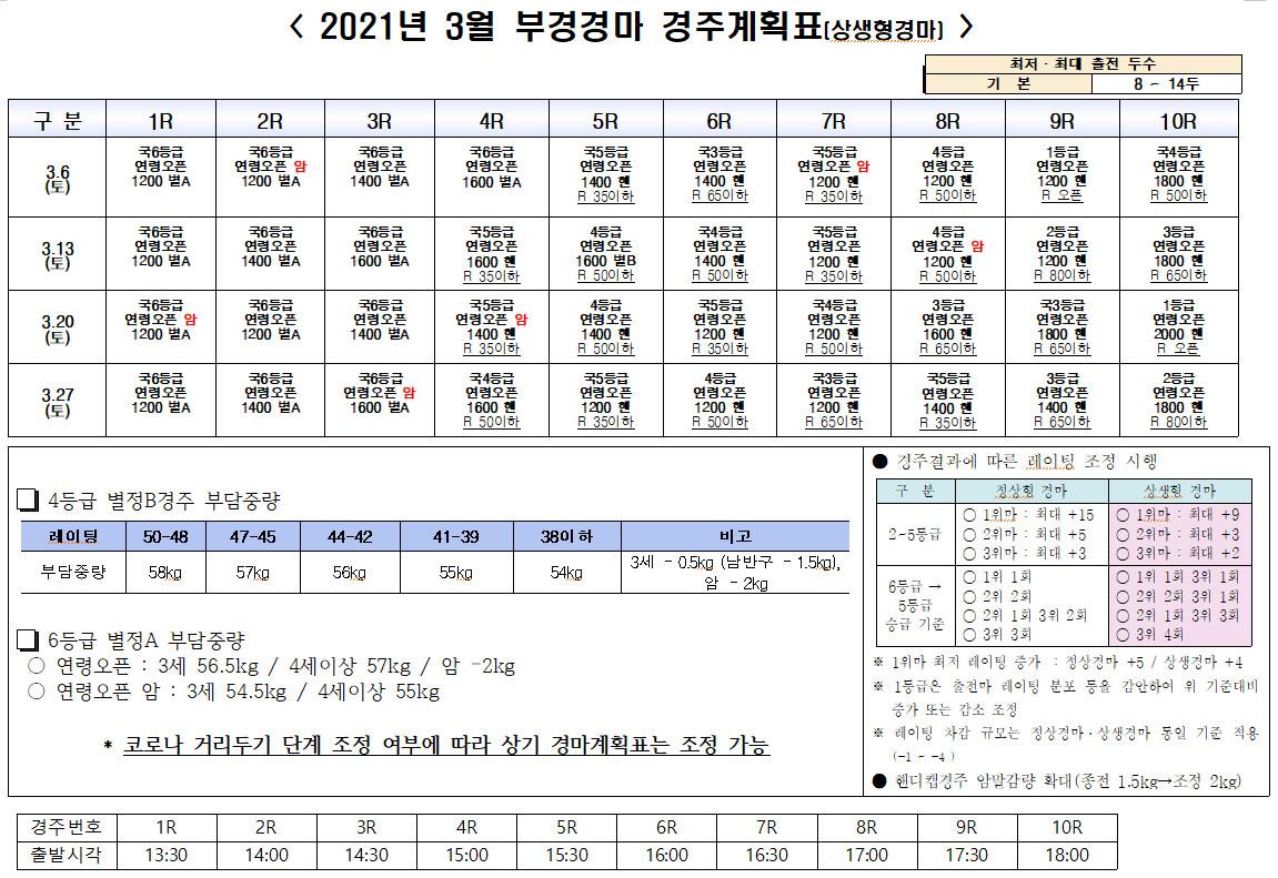 3월 부산경마시행계획 한국마사회 서울, 부산 경마장 3월 경마시행 계획! 상생경마