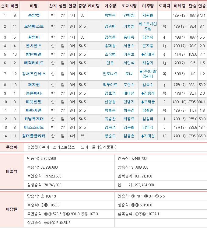 경마최고배당 서울경마장 1R 한국경마 역대 최고 배당 삼쌍승식 51만배 신기록!