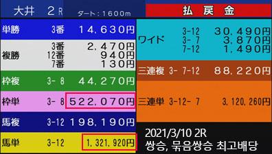오이경마 쌍승식 일본 오이경마 쌍승식, 묶음쌍식 최고 배당! 로또마권 3일 연속 이월